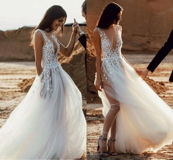 Beach Wedding Dresses Cheap Luxury Discount 2019 Summer Boho Tulle Beach Wedding Dresses Deep V Neck Sheer See Through A Line Appliques Split Bridal Gowns Cheap Long Sleeve Wedding