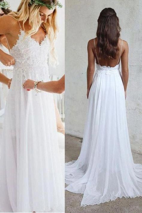 Beach Wedding Dresses Cheap Luxury Open Back White Lace Spaghetti Straps Beach Cheap Wedding