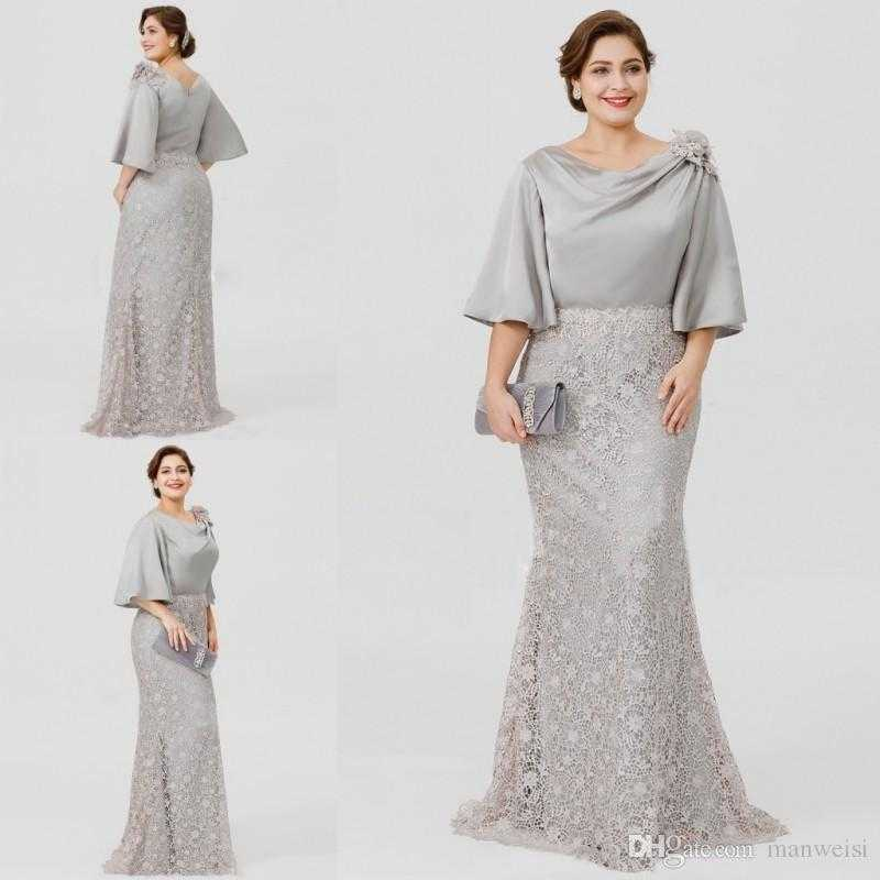 2019 new silver elegant mother the bride dresses half sleeve lace unique of beach wedding guest dresses plus size of beach wedding guest dresses plus size