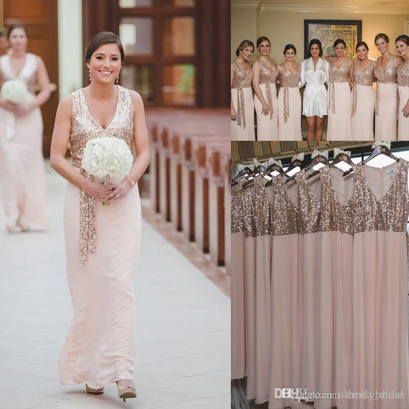 rose gold sparkly sequins long bridesmaid