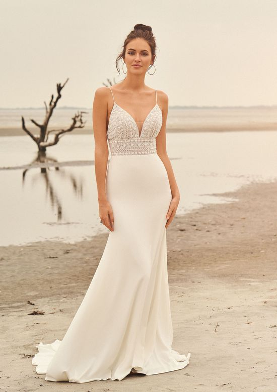 Beaded Bodice Wedding Dress Luxury Style Spaghetti Strap Beaded Bodice with Crepe Skirt