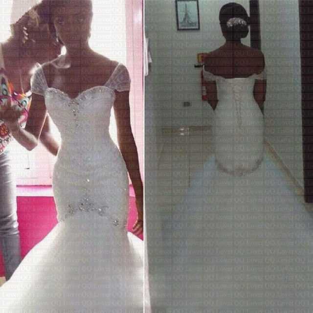 2019 New African Charming Crystal Beading Wedding Dress Plus Size Cap Sleeves Bridal Gown Wedding Gowns 640x640