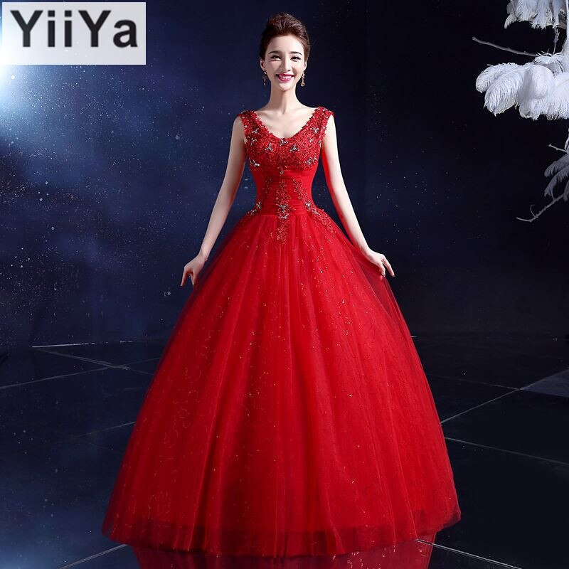 Free shipping YiiYa 2016 new font b red b font font b wedding b font font