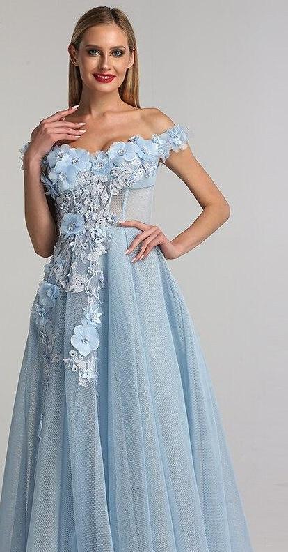 Bespoke Wedding Dresses Fresh Mariah Blue Bespoke Tulle evening Gown – Bombfashions