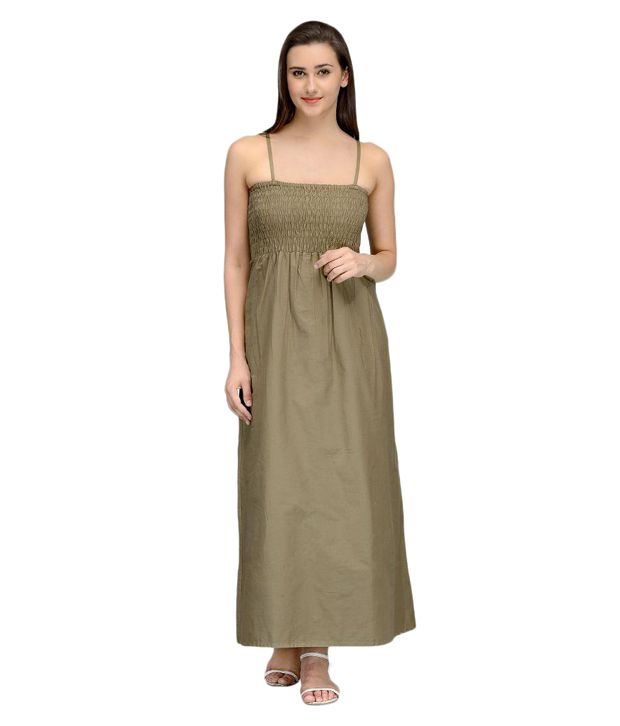Vemero Khaki Cotton Maxi Dress SDL 1 7a510