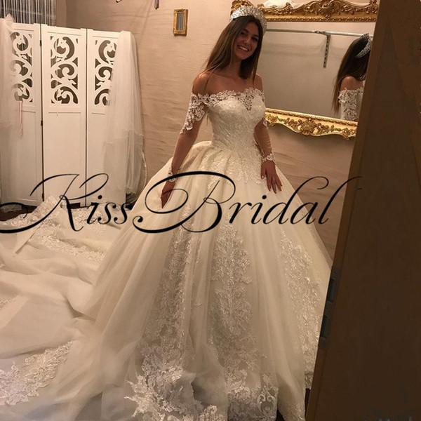 """Bigger Girl Wedding Dresses Lovely Großhandel Big Ball Gown Lace Brautkleider Aus Der Schulter Mit Langen """"rmeln Luxus Big Train Princess Dubai Brautkleider Von Kissbridal001 $402 02"""