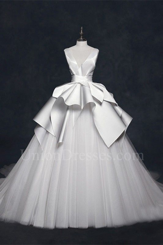 Black and Blue Wedding Dresses Best Of Ball Gown V Neck Low Back Pleated Satin White Tulle Wedding
