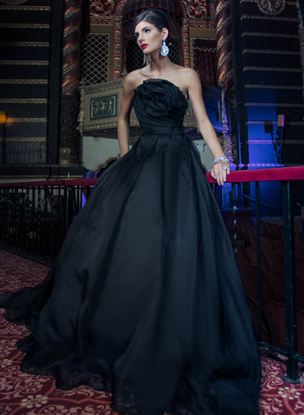 Black and Blue Wedding Dresses Elegant Discount 2018 Gothic Black Colorful Wedding Dresses with Color Strapless Simple organza Non White Vintage Bridal Gowns Couture Custom Made Wedding