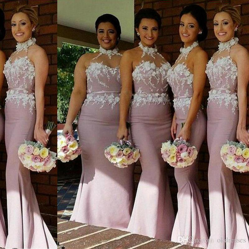 rose gold dress a line long bridesmaid dresses