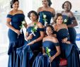 Black Bridesmaid Dresses New African Navy Blue Mermaid Bridesmaid Dresses with Cascading Ruffles F Shoulder Satin Long Bridesmaid Gowns Wedding Guest Dresses Plus Size Wedding