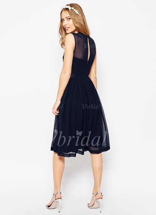 Black Knee Length Bridesmaid Dress Awesome A Line Princess Scoop Neck Knee Length Chiffon Bridesmaid