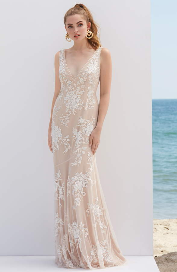 By Watters V Neck Embroidered Wedding Dress
