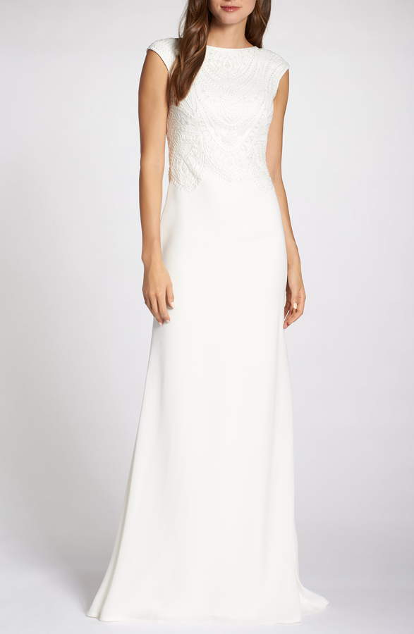 Tadashi Shoji Embroidered Wedding Dress