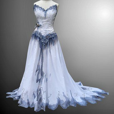 Blue and Silver Wedding Dress New Corpse Bride Dress Halloween In 2019