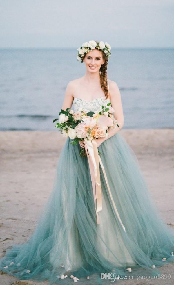 Blue Beach Wedding Dress Fresh Fairy Colorful Country Beach Wedding Dresses Bridal Gowns Strapless Sweetheart Lace Tulle Pale Blue Tulle Sweep Train Petals