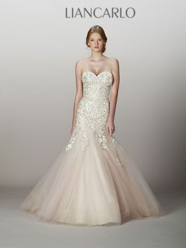 Blush Color Wedding Gown Best Of Liancarlo Style 5839 Fall 2013 Fit and Flare Blush Tulle