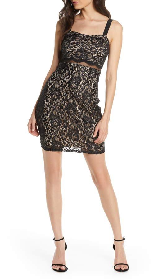 Sequin Hearts Illusion Waist Body Con Lace Minidress
