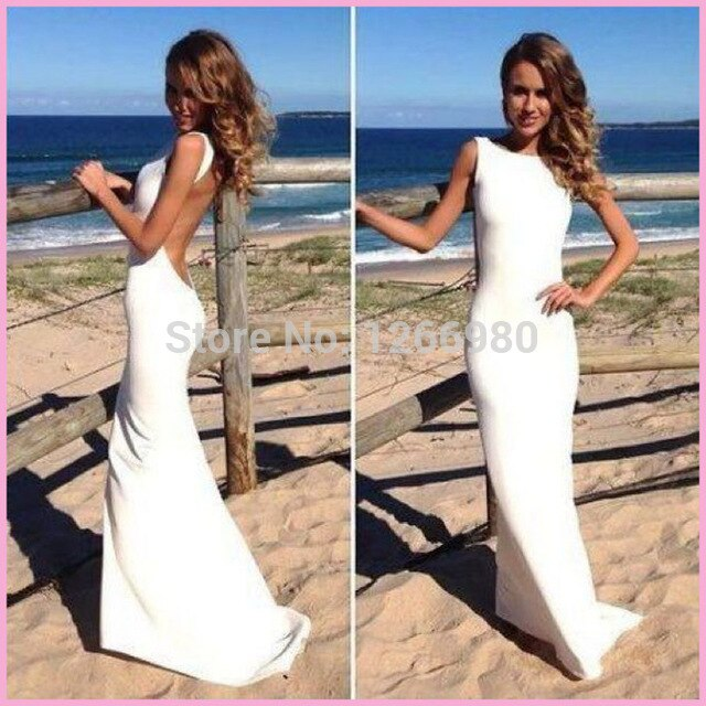 Free Shipping y Backless Vintage Beach Wedding Dresses Bodycon White Wedding Gown Spandex Tight Maxi Dress 640x640