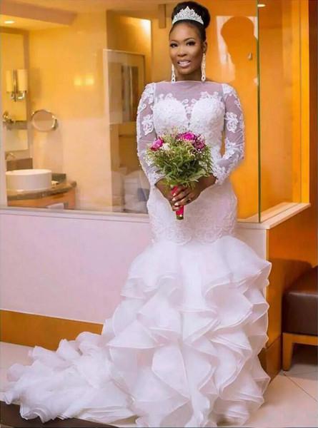 Bodycon Wedding Dress Elegant south African Nigerian Mermaid Wedding Dresses Plus Size 2018 Long Sleeve Sheer Neck Bodycon Fishtail Bridal Gowns Beaded Chic Layer Ruffles Cheap