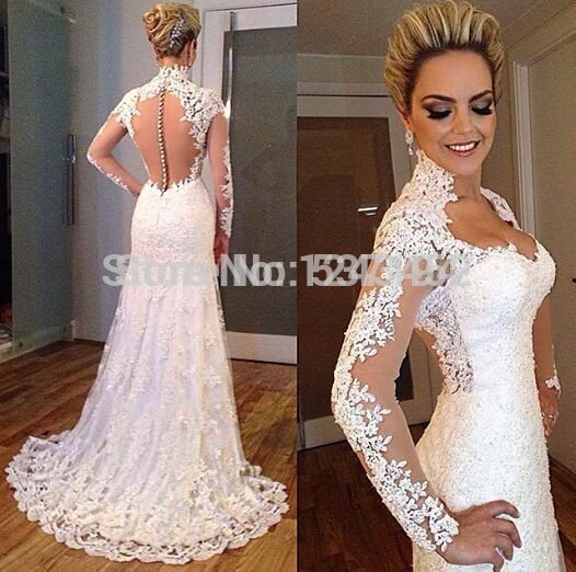 2015 Vintage Lace Applique Backless Sweetheart Beads Bodycon Mermaid Wedding Dress Bridal Gown With Long Sleeve 640x640