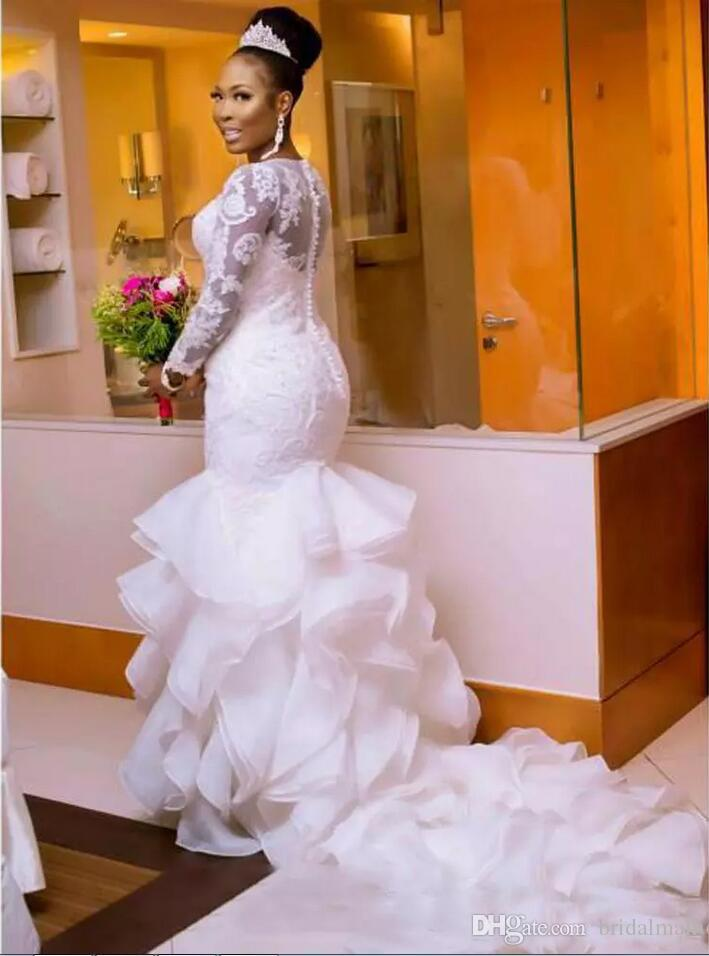 Bodycon Wedding Dress Lovely south African Nigerian Mermaid Wedding Dresses Plus Size 2018 Long Sleeve Sheer Neck Bodycon Fishtail Bridal Gowns Beaded Chic Layer Ruffles Cheap