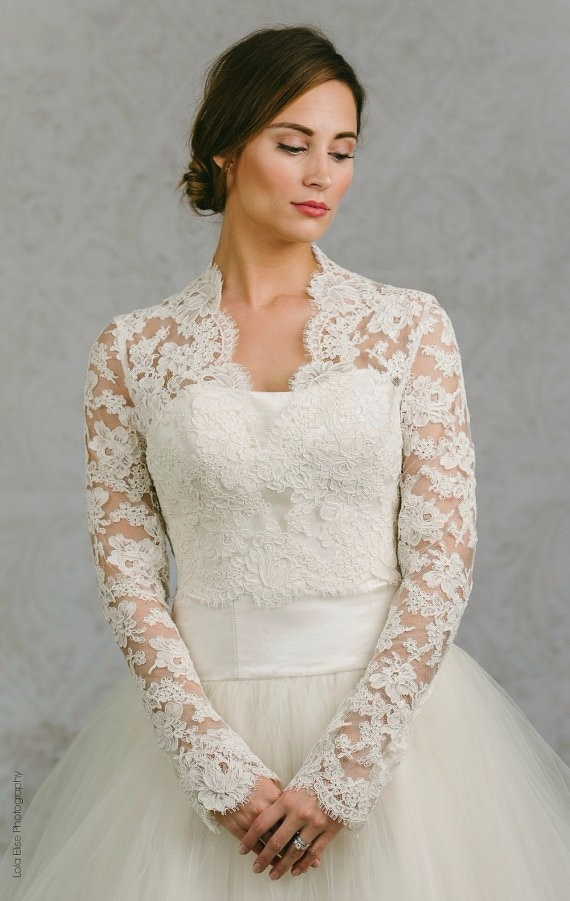 Wedding Bolero Jacket Lace White Shawl for Wedding Dress Long Sleeves Bridal Boleros Wedding Wraps Custom