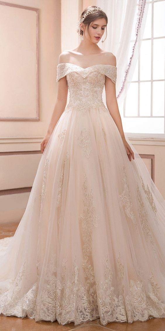 Bridal evening Dress Beautiful Romantic Wedding Dress Tulle F the Shoulder Bride Dress