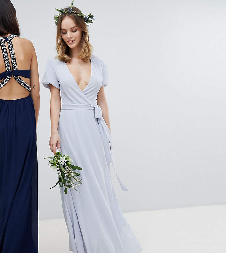 TFNC Petite Petite Wrap Maxi Bridesmaid Dress With Tie Detail And Puff Sleeves