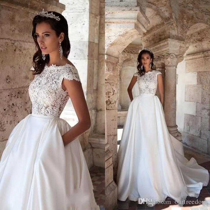 discount 2018 new vintage a line wedding dresses with pockets bateau unique of wedding gown for petite of wedding gown for petite