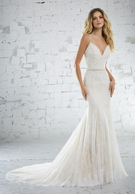 mori lee 6882 kassidy fit and flare destination wedding dress with spaghetti straps 01 287