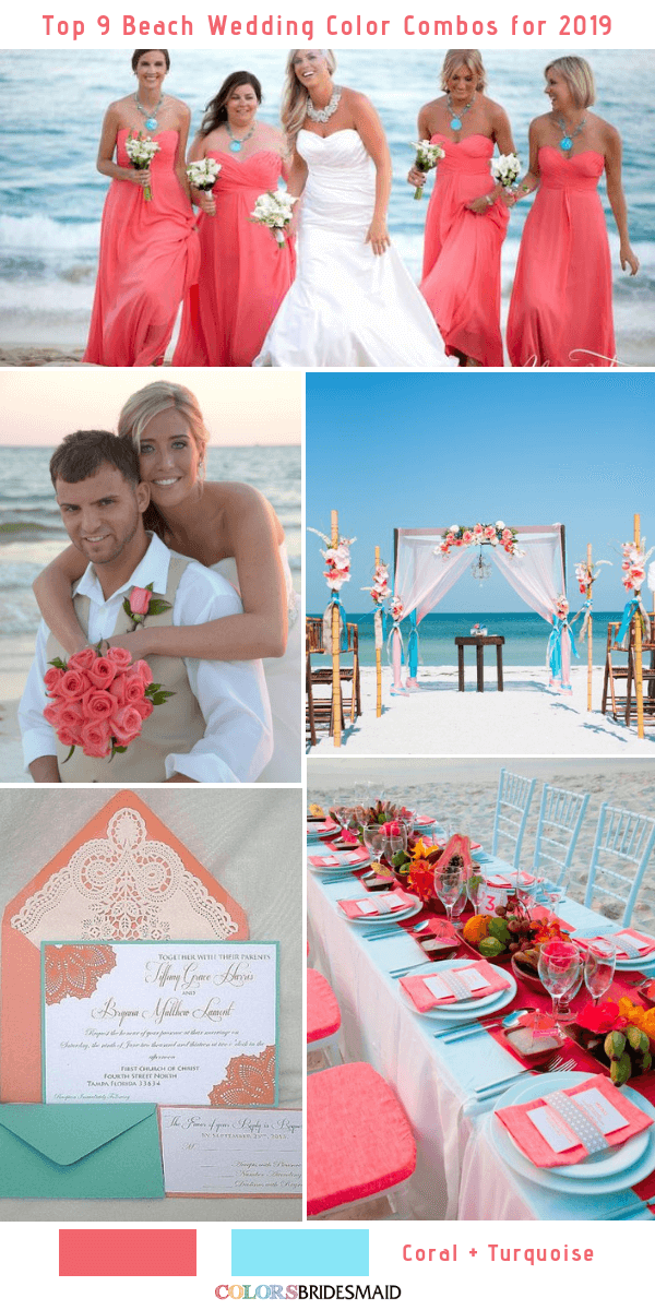 beach wedding color 2019 coral turquoise