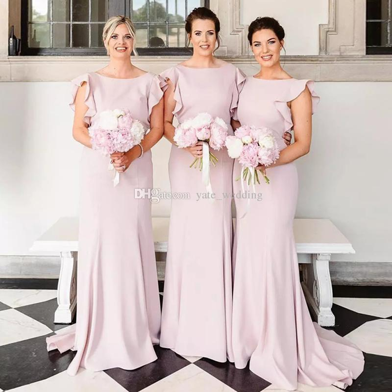 Bridesmaid Dresses Made In Usa Lovely Fashion Mermaid Bridesmaid Dresses Slash Neck Ruffles Sleeves Satin Floor Length Elegant Wedding Guest Dresses Custom Made
