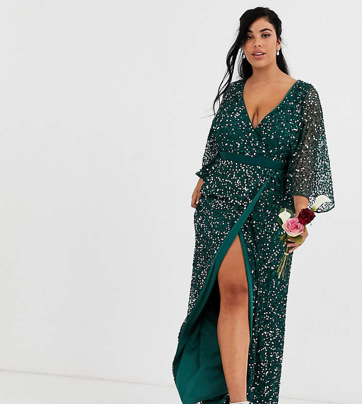 Maya Plus Bridesmaid delicate sequin wrap maxi dress in green