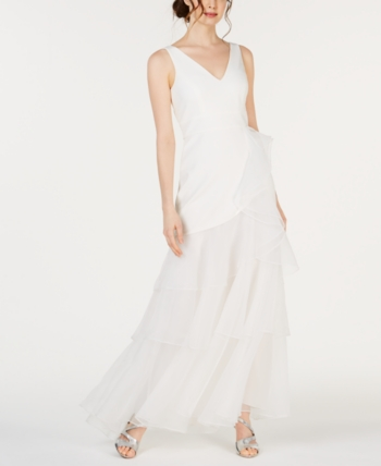 Calvin Klein Bridal Beautiful Calvin Klein V Neck organza Ruffle Gown In 2019