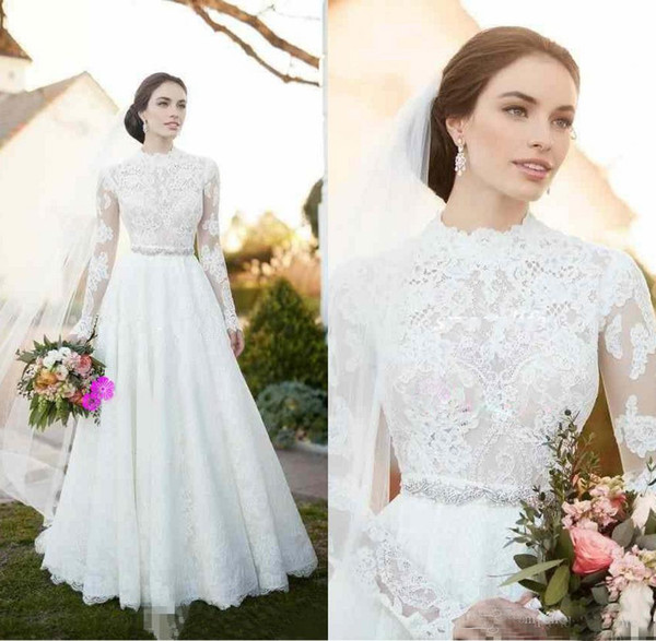 Cap Sleeve Lace Wedding Dress Vintage Beautiful 2018 Vintage Lace Country Wedding Dresses with Illusion Long Sleeve High Neck Beaded Sash Modest Plus Size Simple Outdoor Bridal Gowns Cheap