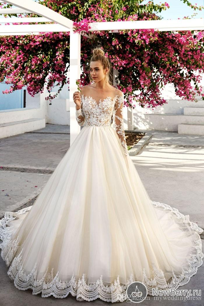 Cap Sleeve Lace Wedding Dress Vintage Beautiful Wedding Ball Gowns 2017 New Discount Plus Size Long Sleeve