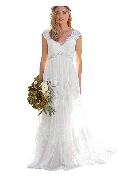 Cap Sleeve Lace Wedding Dress Vintage Elegant Dressesonline Women S V Neck Bohemian Wedding Dresses Lace Bridal Gown Vestido De Noivas
