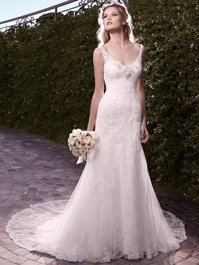 casablanca 2135 fit flare v neckline wedding dress 3