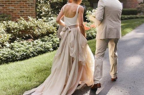 casual backyard wedding dresses with irregular skirt 3 grande