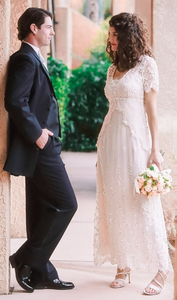 lace wedding dress with embroidered tulle cap sleeves and empire waist casual wedding dress backyard wedding dress plus sizes available