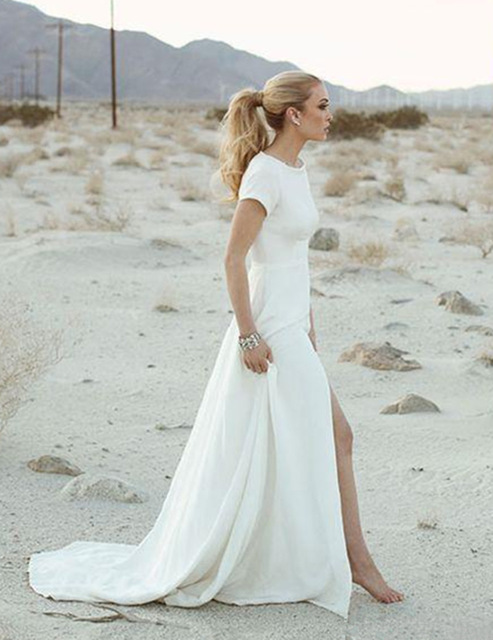 2017 Elegant Casual Beach Wedding Dress Short Sleeve Backless Front Split Chiffon Bridal Gowns vestido de 640x640