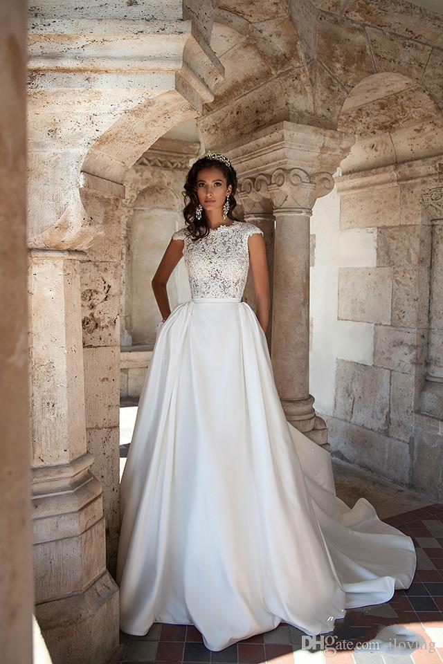 wedding gown can can beautiful special satin cheap bridal dresses open back sweep train empire