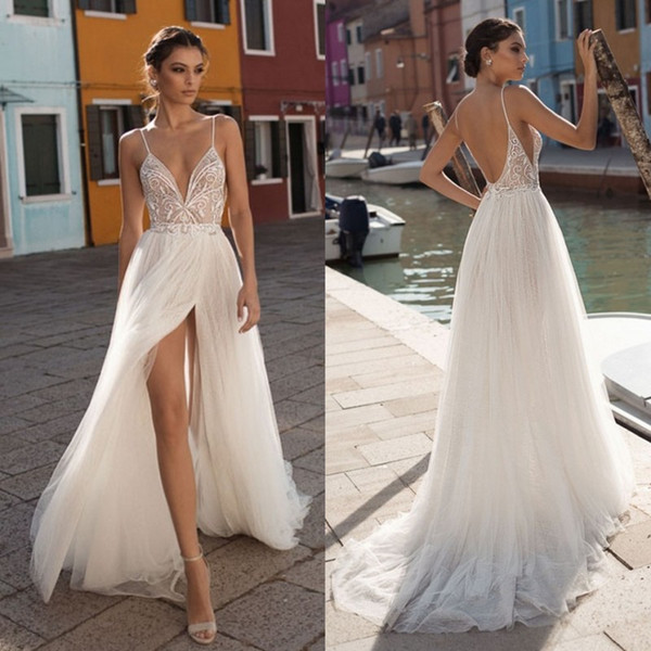 Casual Bride Dress Best Of Discount Amazing Backless Beach Wedding Dresses Spaghetti Straps Beaded Bohemian Side Split Bridal Gowns A Line Tulle Appliqued Boho Vestido De Novia