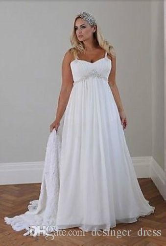 Casual Bride Dress Luxury 2018 Casual Beach Plus Size Wedding Dresses Spaghetti Straps Beaded Chiffon Floor Length Empire Waist Elegant Bridal Gowns
