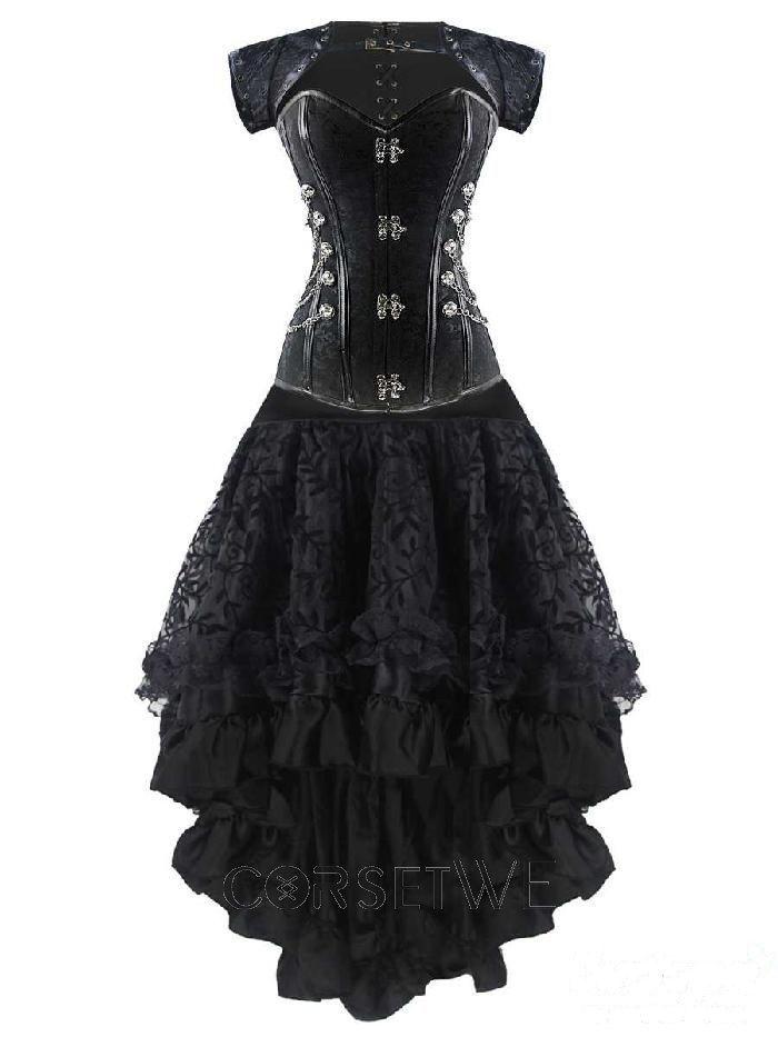 Casual Corset Dress New Steampunk Steel Boned Bustier tops Overbust Corset Dress In