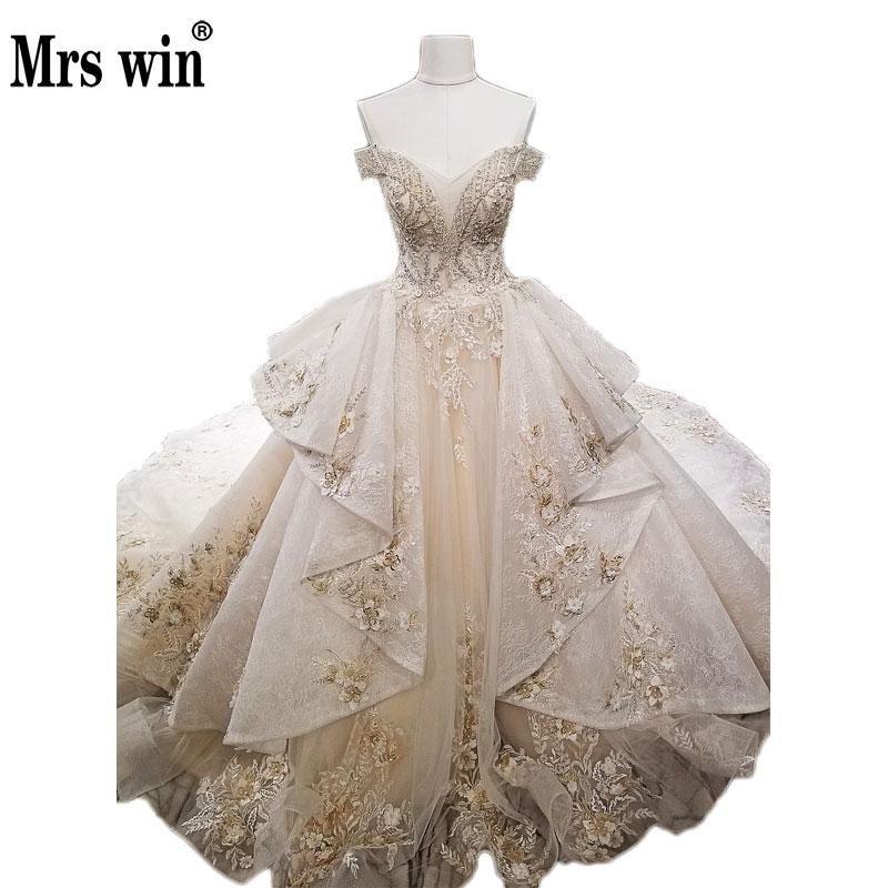 Champagne Gold Wedding Dress Elegant Champagne Gold Luxury Wedding Dress High End Deep V Y