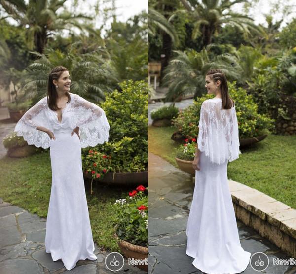 cheap beach wedding gowns fresh 2016 bohemian white mermaid wedding dresses with cape long sleeves v