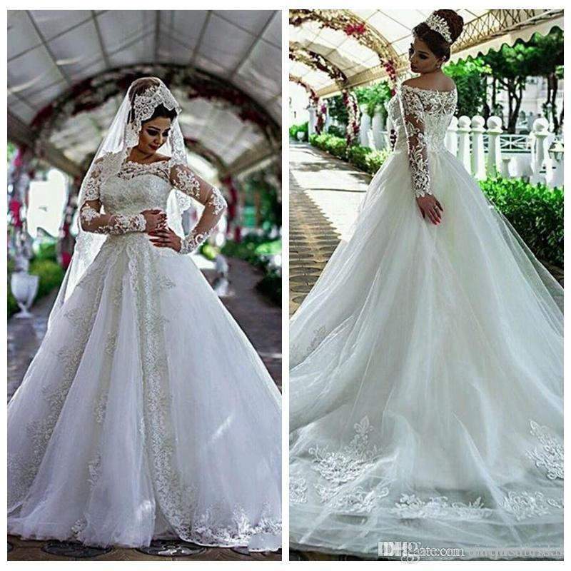 Cheap Designer Wedding Dresses Beautiful Sheer Bateau Neckline Princess Wedding Dresss with Appliques Long Sleeves Stunning Cheap Designer Bridal Dresses Custom Made