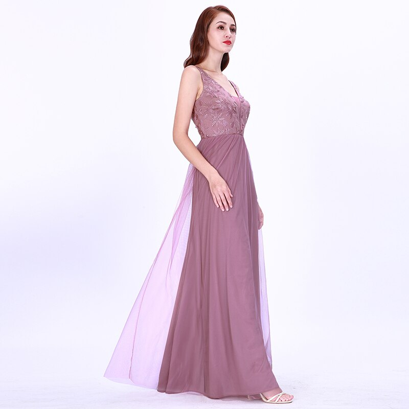 Cheap Long Prom Dresses y Deep V Neck Sleeveless Gala Jurken Elegant EB OD Beading Embroidery Lace