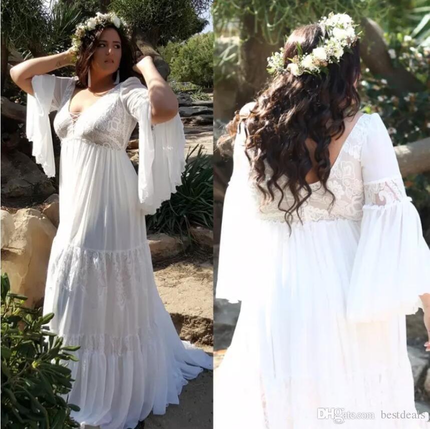 Cheap Plus Size Beach Wedding Dresses Best Of 2019 Lace Plus Size Beach Wedding Dresses V Neck Long Sleeves Bohemian Bridal Gowns A Line Floor Length Pregnant Wedding Dress